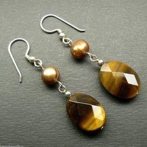 Tigers Eye & Brown Pearl Sterling Silver Earrings